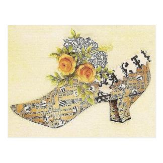 Vintage Victorian Yellow Rose Cinderella Slipper Postcard
