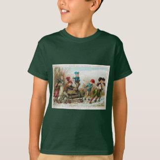 Vintage Victorian Yule Log Christmas Kid's T-Shirt