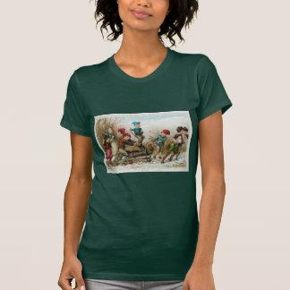 Vintage Victorian Yule Log Christmas Ladie T-Shirt