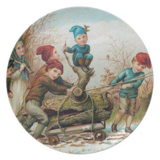 Vintage Victorian Yule Log Melamine Plates