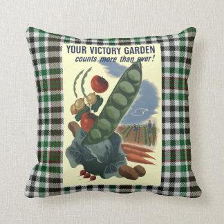 Vintage Victory Garden War Poster Throw Pillow