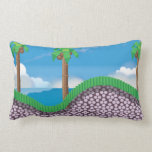 Vintage Video Game Palm Trees. Throw Pillows