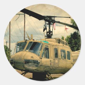 Vintage Vietnam Era Uh-1 Huey Military Helicopter Classic Round Sticker