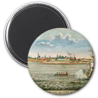 Vintage View of the City of New York from the SW 2 Inch Round Magnet