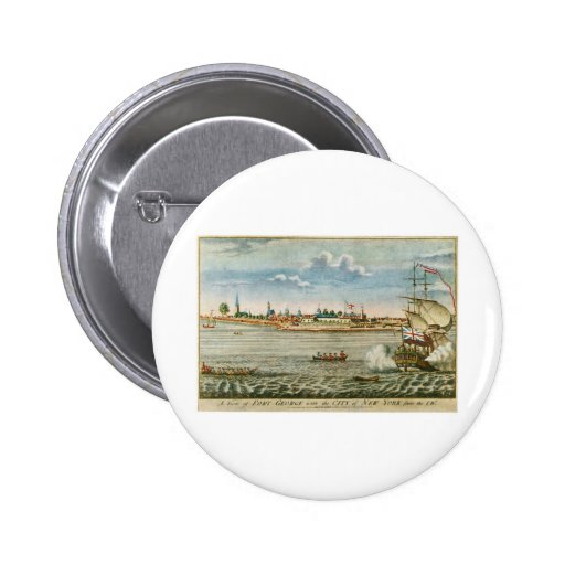 Vintage View of the City of New York from the SW 2 Inch Round Button