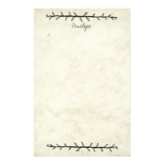Vintage Vine Border Old Book Paper with Name
