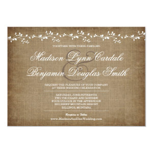 Vintage Vines Distressed Rustic Wedding Invitation Custom Invite
