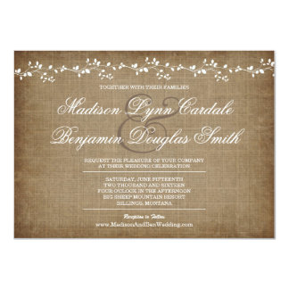 Vintage Vines Distressed Rustic Wedding Invitation Custom Invite
