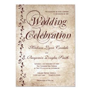 Vintage Vines Elegant Rustic Wedding Invitations Invites