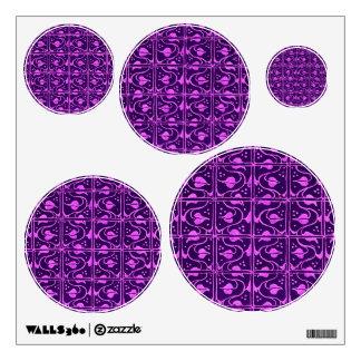 Vintage Vines Purple Dots Circles Wall Decal Set
