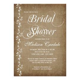 Vintage Vines Rustic Bridal Shower Invitations Personalized Announcement