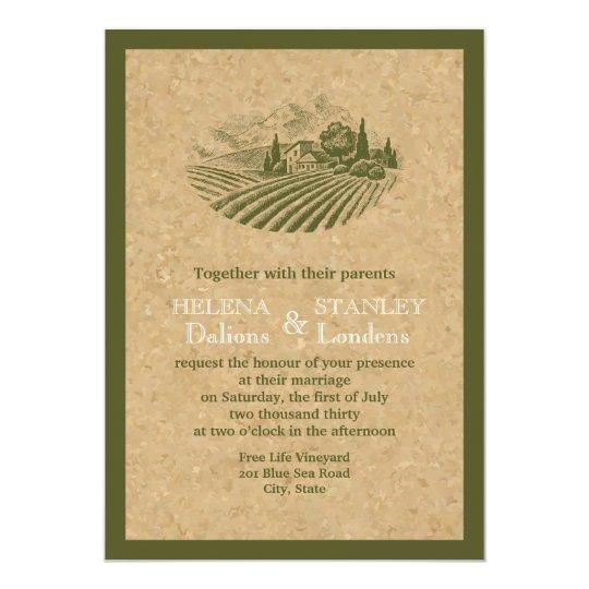 Cork Wedding Invitations: Vintage Vineyard And Cork Beige, Red Wedding Invitation