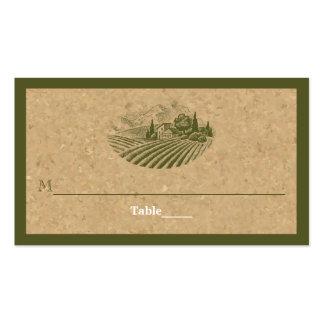 Vintage vineyard and cork olive wedding place card business card