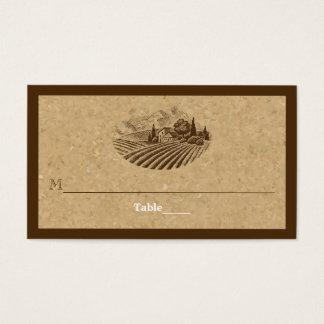 Vintage vineyard and cork wedding place card