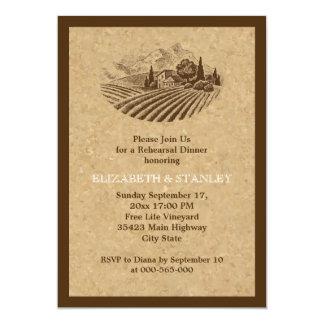 Vintage vineyard and cork wedding rehearsal dinner card