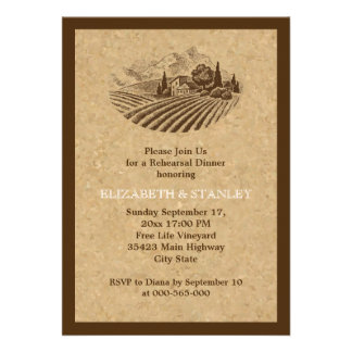 Vintage vineyard and cork wedding rehearsal dinner personalized announcements