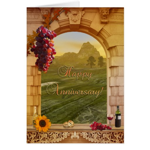 Vintage Vineyard Anniversary Congratulations Card
