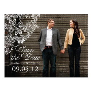 Vintage Vineyard Photo Save the Date Postcard Gray