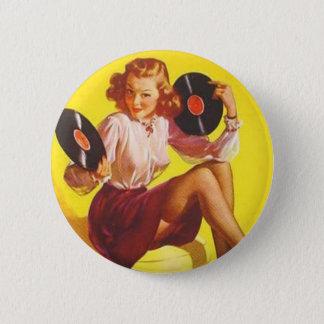 Vintage Vinyl Girl Pinback Button
