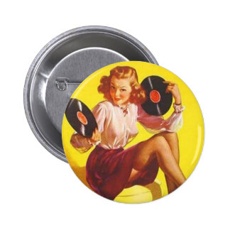 Vintage Vinyl Girl Pinback Button