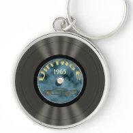 Vintage Vinyl Record (blue) Premium Keychain