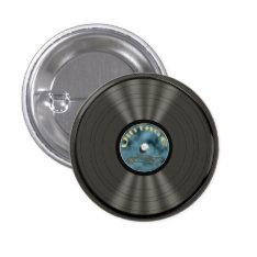 Vintage Vinyl Record Button at Zazzle