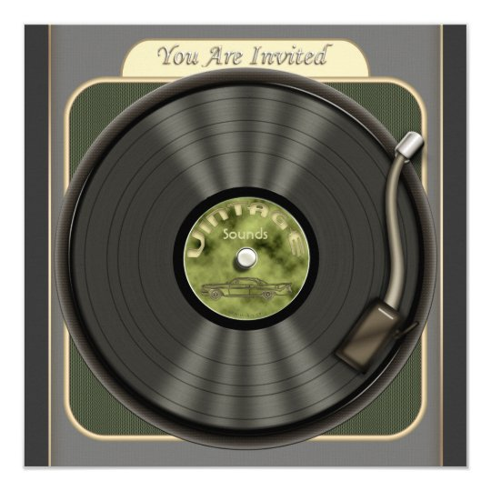 Vintage Vinyl Record Party Invitations