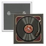 Vintage Vinyl Record Square Button