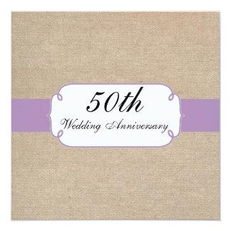 Vintage Violet and Beige Burlap Anniversary Party Card