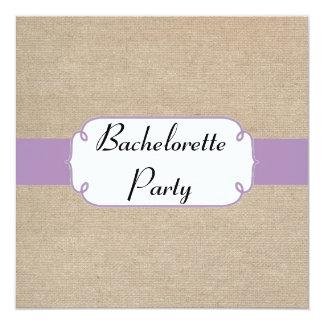 Vintage Violet and Beige Burlap Bachelorette Party Card