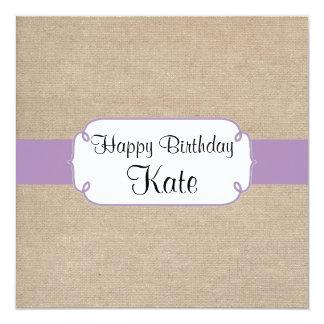 Vintage Violet and Beige Burlap Birthday Party Card