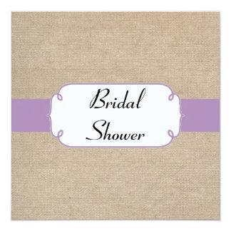 Vintage Violet and Beige Burlap Bridal Shower Card