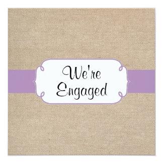 Vintage Violet and Beige Burlap Engagement Party Card
