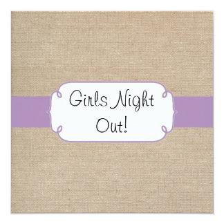 Vintage Violet and Beige Burlap Girls Night Out Card