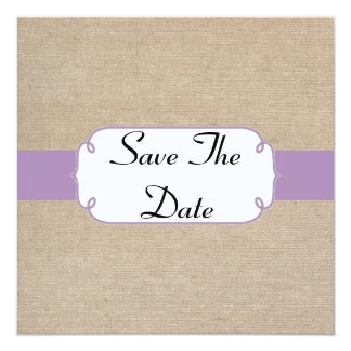 Vintage Violet and Beige Burlap Save The Date Card