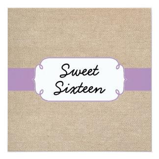 Vintage Violet and Beige Burlap Sweet Sixteen Card