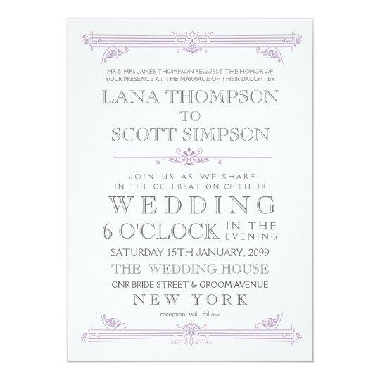 Vintage Violet Moroccan Typography Wedding Invite