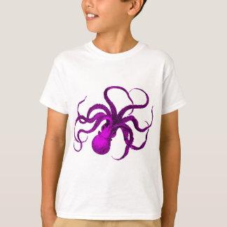Vintage Violet Octopus Design T-Shirt