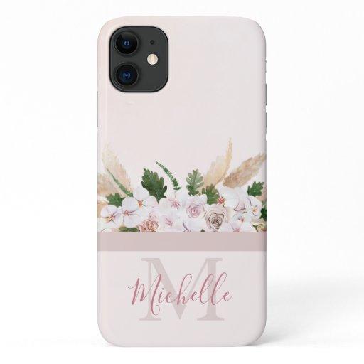 Vintage Violet Pink Rose Monogram and Name iPhone 11 Case