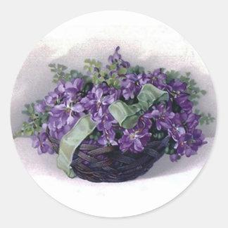 Vintage Violets Basket Classic Round Sticker