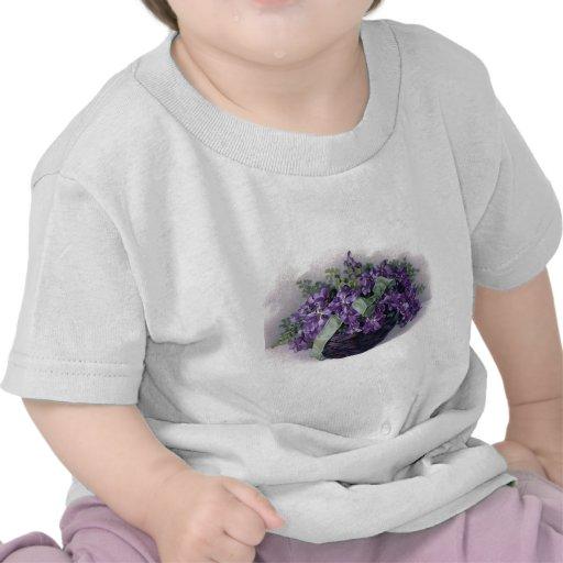 Vintage Violets Basket T Shirts
