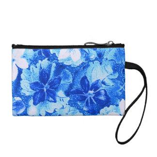 Vintage Violets Blue Bagettes Travel Key Coin Bag Change Purses