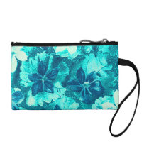 Vintage Violets Blue Teal Peacock Turquoise Coin Purse