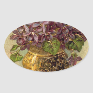 Vintage Violets Golden Vase Sticker