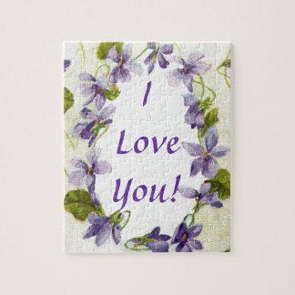 Vintage Violets I Love You Puzzle