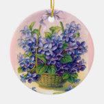 Vintage Violets in a Basket Ornament