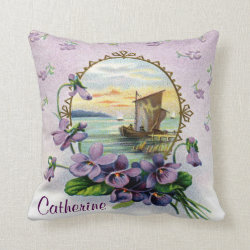 Vintage Violets Named Throw Pillow
