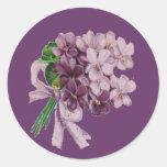 Vintage Violets Nosegay Bouquet Round Stickers