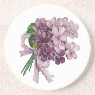 Vintage Violets Nosegay Bouquet Sandstone Coaster
