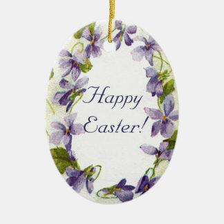 Vintage Violets Oval Easter Ornament